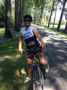 Mel sporting our cycling shirt on London to Paris September 2014